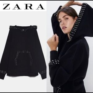 ZARA Hooded Knit SweatShirt w/ Appliqué Studs Art